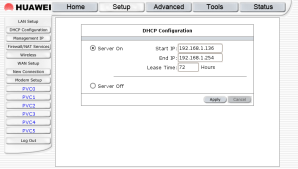 HUAWEI Setup - DHCP Conf